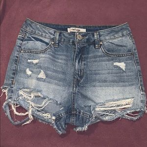 High-Waisted distressed denim